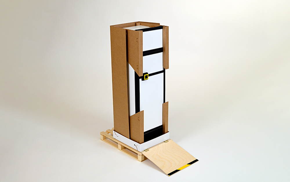 Miniature model of the packaging design for Selfly Intelligent Cabinet by Stora Enso